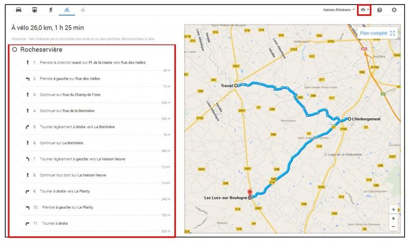creer un trajet a velo avec Google Map - feuille de route d un itineraire velo