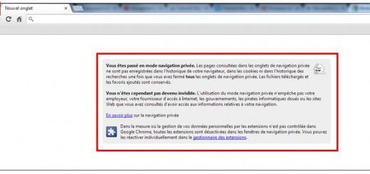 utiliser la navigation privee - Google Chrome