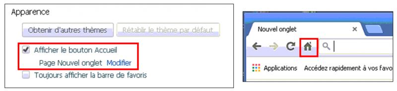 Utiliser le navigateur Google Chrome - afficher le bouton accueil