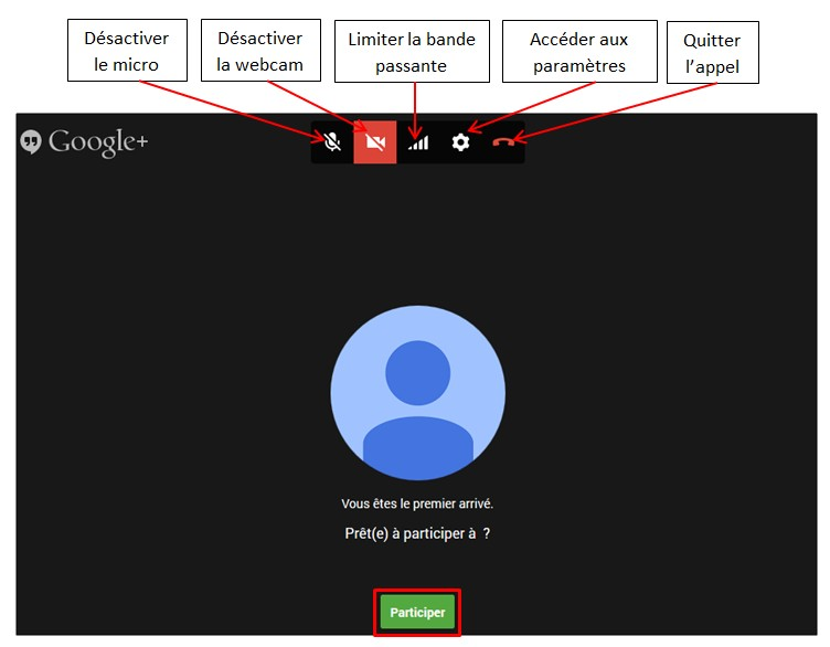 creer une video conference avec Google Hangouts - fenetre hangouts
