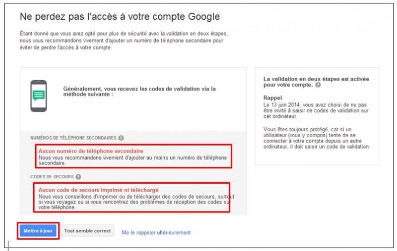 securiser son compte Google avec la validation en 2 etapes - parametrer les options de recuperation