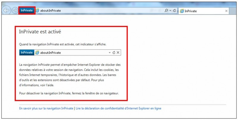 utiliser la navigation privee - Microsoft Internet Explorer