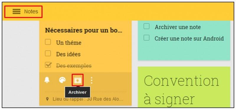 Prendre des notes avec Google Keep - archiver une note