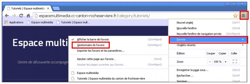 Utiliser le navigateur Google Chrome - gerer les favoris