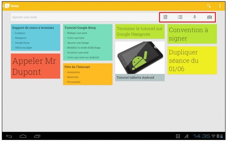 Prendre des notes avec Google Keep - apercu google keep android