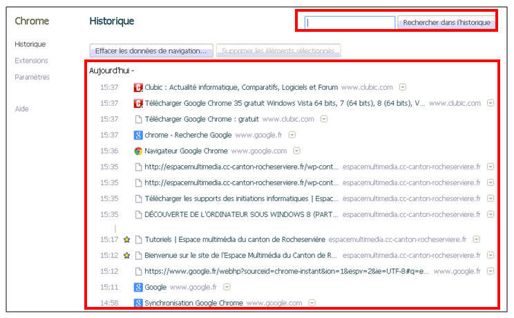 Utiliser le navigateur Google Chrome - voir l historique