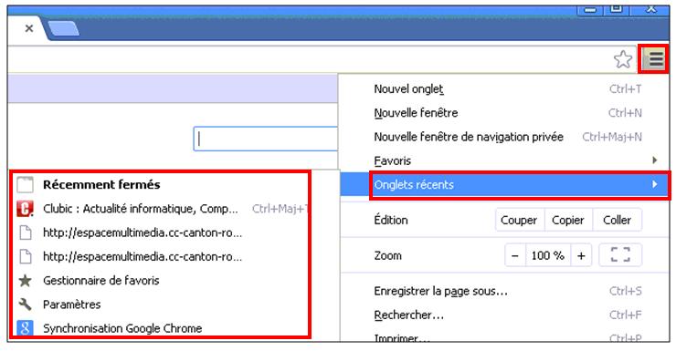 Utiliser le navigateur Google Chrome - voir les onglets recents