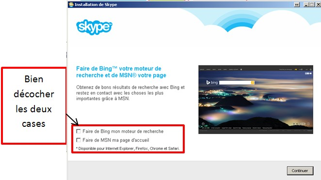 05 - Skype communiquez gratuitement avec vos contacts - installation bien decocher les deux cases