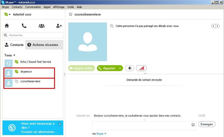 17 - Skype communiquez gratuitement avec vos contacts - faire la demande pour contacter la personne puis retour a la page principal