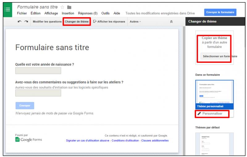 01 - personnaliser le theme d un formulaire Google - changer le theme