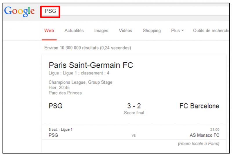 Tutoriel - gagner du temps dans ses recherches Google - obtenir les resultats sportifs en direct