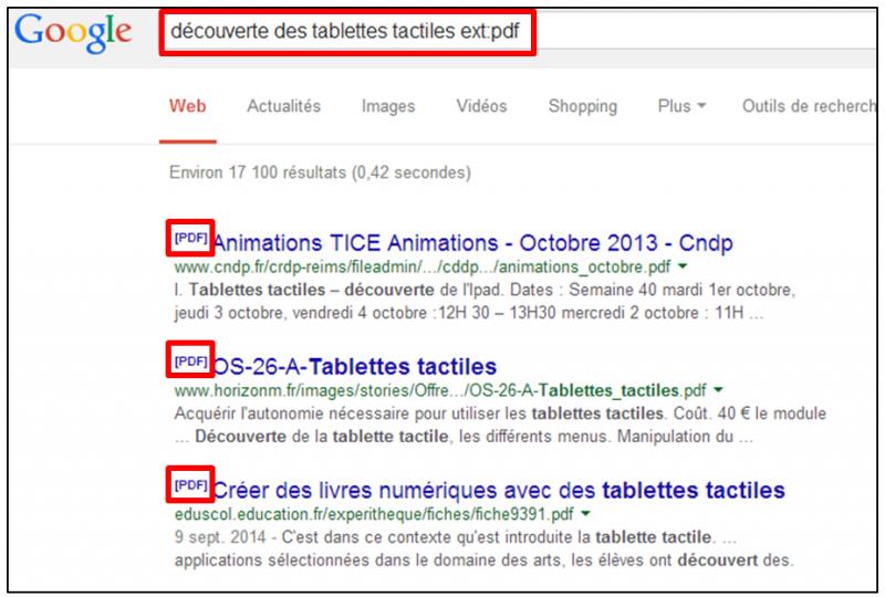 Tutoriel - gagner du temps dans ses recherches Google - Recherche de fichiers specifiques