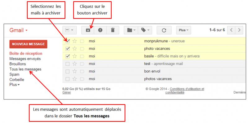 Tutoriel Gmail - gestion des messages - archiver des messages