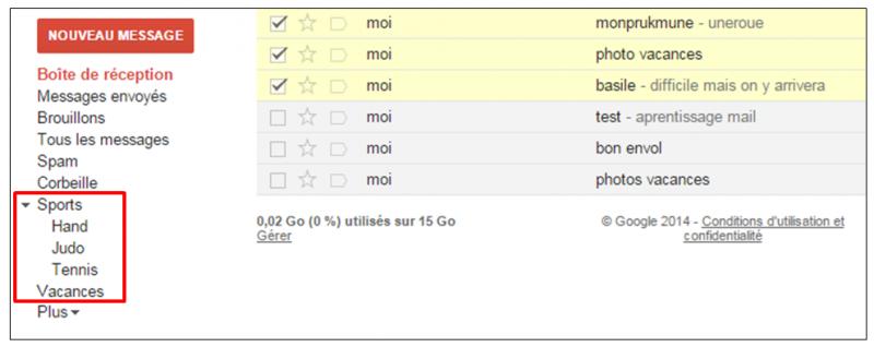 Tutoriel Gmail - gestion des messages - visualiser un libelle