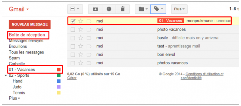 Tutoriel Gmail - gestion des messages - message associe a un libelle