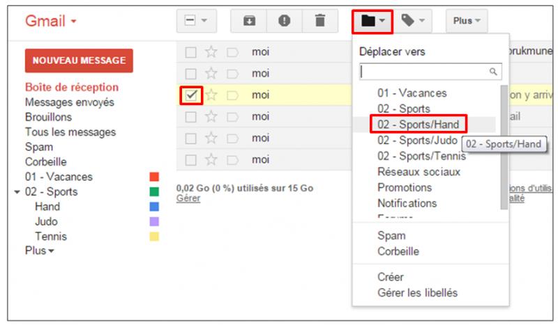 Tutoriel Gmail - gestion des messages - deplacer vers un libelle