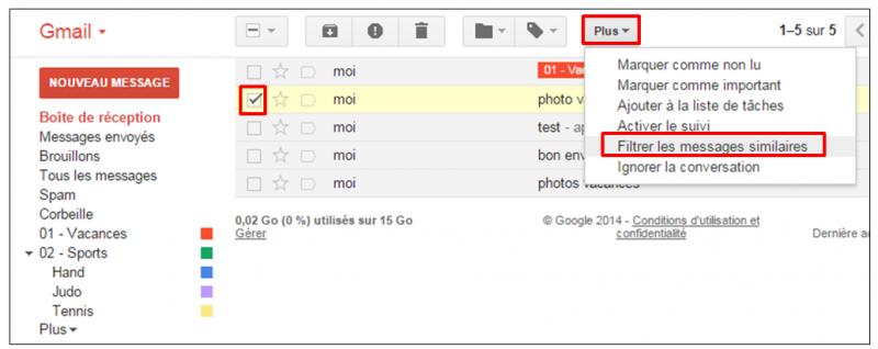 Tutoriel Gmail - gestion des messages - filtrer les messages