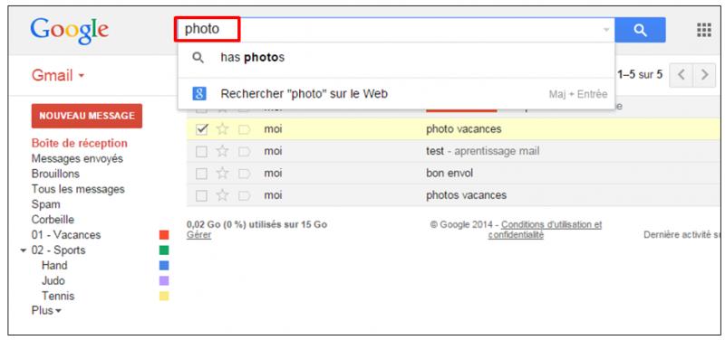 Tutoriel Gmail - gestion des messages - rechercher des messages