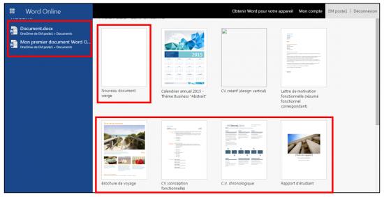 decouverte du traitement de texte Word Online - creer un nouveau document