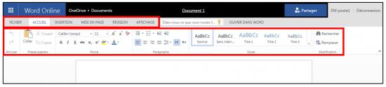 decouverte du traitement de texte Word Online - l interface