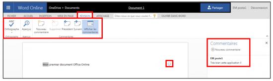 decouverte du traitement de texte Word Online - onglet revision
