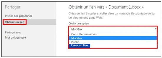 decouverte du traitement de texte Word Online - creer un lien d acces au document