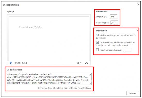 decouverte du traitement de texte Word Online - integrer un document dans un site web