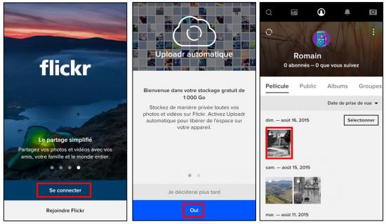 Flickr service de stockage et de partage de photos en ligne - Utiliser l application mobile