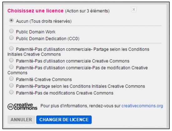 Flickr service de stockage et de partage de photos en ligne - Choix des licences de diffusion