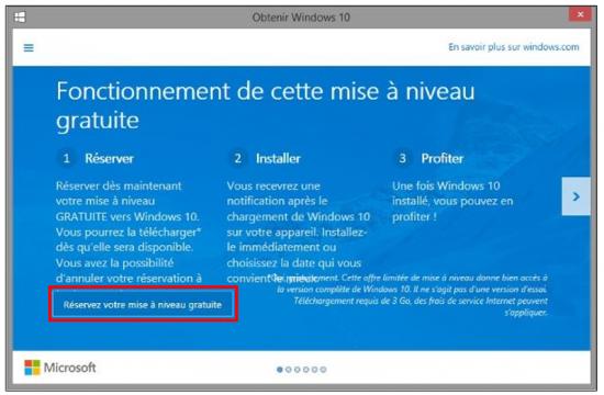 Mise à jour Windows 7 et 8.1 vers Windows 10 - Réserver la mise à niveau gratuite
