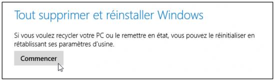 FAQ Windows 10 - Reinitialiser un ordinateur