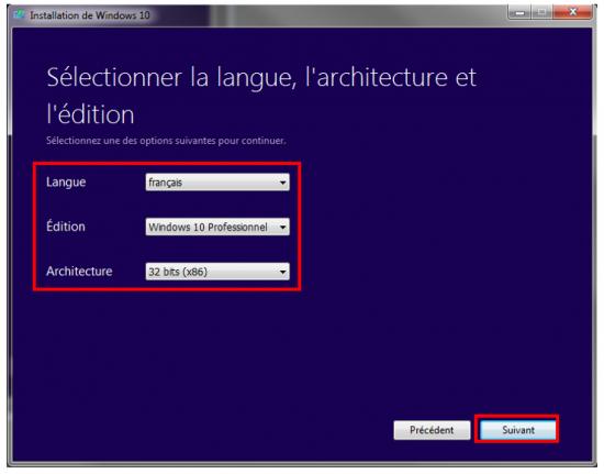 Créer un support d'installation Windows 10 - Configuration du téléchargement