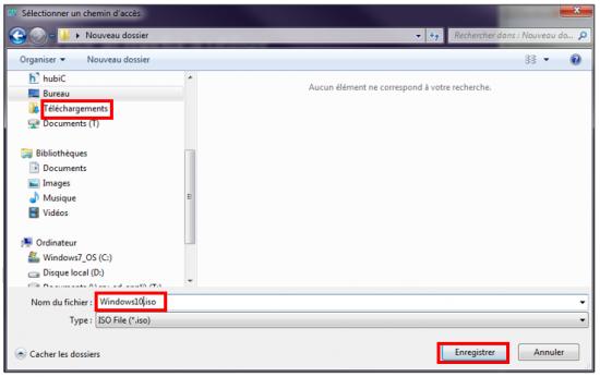 Créer un support d'installation Windows 10 - Choix de l'emplacement de l'image ISO