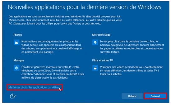 Mise à jour Windows 7 et 8.1 vers Windows 10 - Choix des applications par défaut