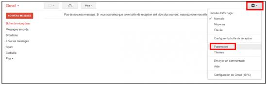 Accéder aux paramètres Gmail