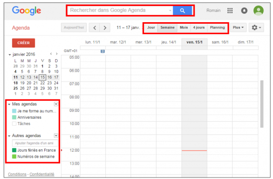 Interface de Google Agenda