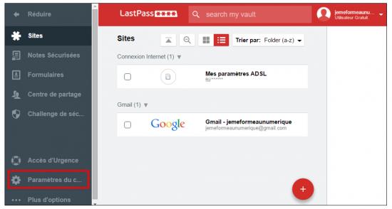 Accéder aux paramètres de LastPass