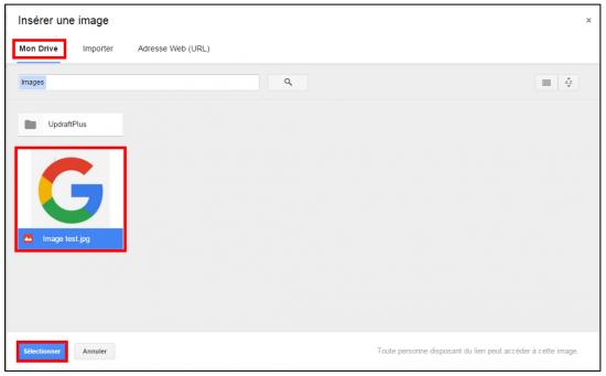 Insérer une image depuis Google Drive