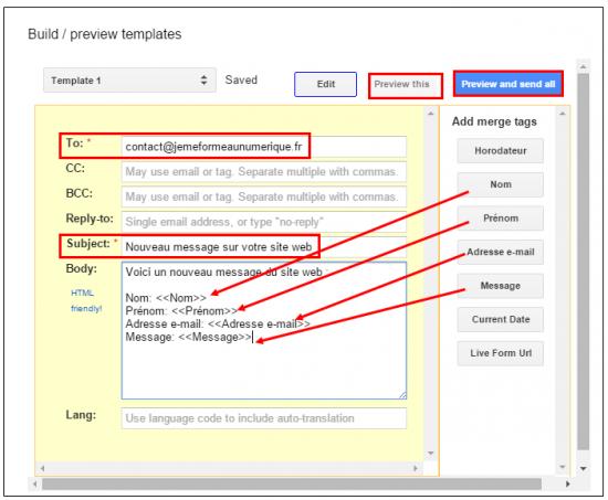 Personnaliser le modèle de mail administrateur