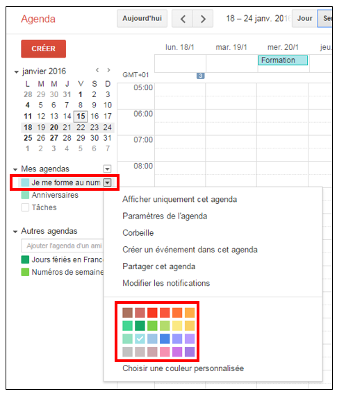 Modifier la couleur d'un agenda