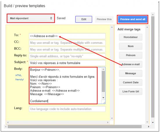 Personnaliser le modèle de mail répondant