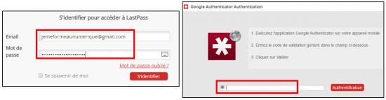 Utilisation de la double authentification sur LastPass