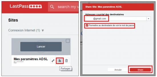 Partager un mot de passe enregistré sur LastPass