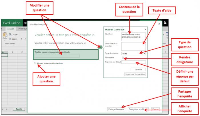 Interface de création des enquêtes