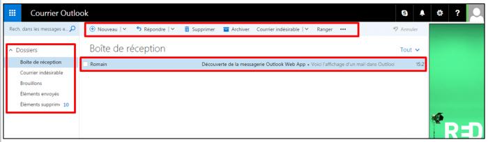 Interface d'Outlook Web App