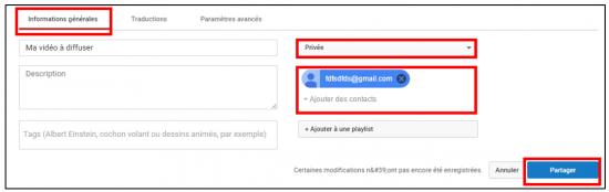Envoyer une vidéo privée à ses contacts
