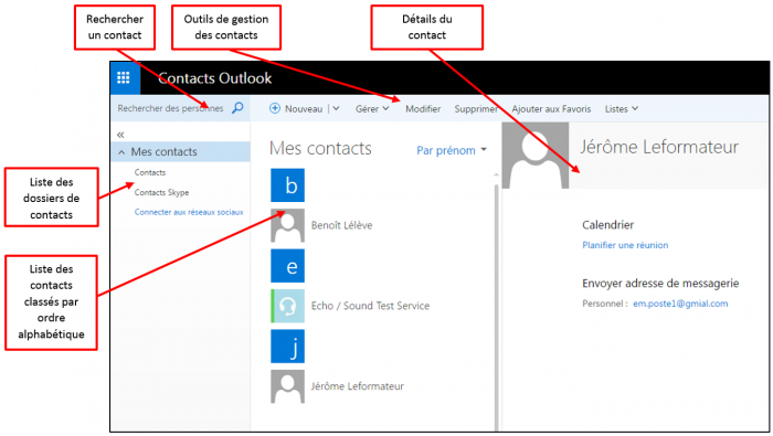 Interface de l'application contacts