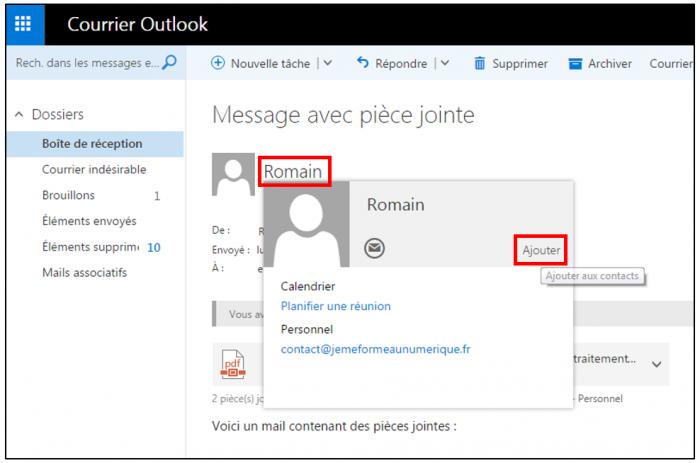 Ajouter un contact depuis Outlook