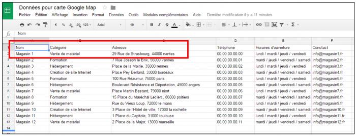 Créer les données dans la feuille de calcul