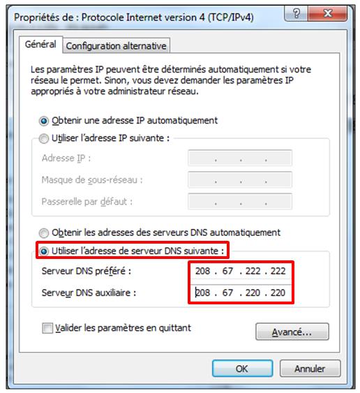 Modifier les DNS
